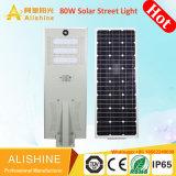 6m LED Solar Luz de rua em um só com iluminação LED 30W