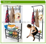 Metallo Hat e Coat Clothes Shoes Corridoio Steel Pipe Stands Rack Hangers Shelf Stand