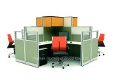 Mobiliário de escritório Bancadas de escritório de 2 lugares com painel de vidro e armário de porta rolante (HF-YZ061)