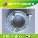Câble coaxial de liaison rempli par gelée imperméable à l'eau extérieure RG6 de veste de PVC