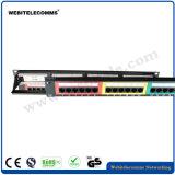 UTP 1u CAT6 Kanal-Zahnstangen-Panel des Änderung- am Objektprogrammpanel-24 mit dem farbigen Fundament modular