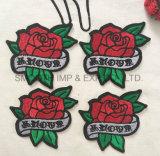 Coton de connexion de broderie de vêtement de l'Applique 3D de fleur de Rose de mode de promotion