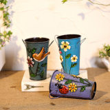 De met de hand gemaakte Vaas van de Bloem van de Emmers van de Vaas of van het Metaal van de Bloem van het Ijzer