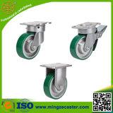 Roheisen-Kern-Grün PU-Fußrolle