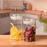 El vidrio sellado conserva el tarro del vidrio de la vela del tanque de almacenaje del alimento de la cocina