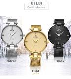Farben-Gold der Belbi Form-neueste Armbanduhr-Luxuxmann-Stahluhrenarmband-kundenspezifisches Firmenzeichen Soem-Uhr-drei, Schwarzes, Silber, damit Sie wählen