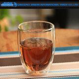 Cuvette de café avec la cuvette élevée en verre de Borosilicate de liège en bois