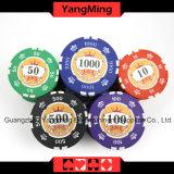 760HP 12g autocolante Chips de póquer de barro puro definido para jogo de azar com caixa de alumínio com número e o logotipo UV (YM-SGHG003)