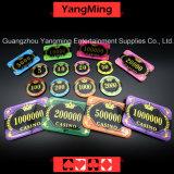 Cristal/corona de acrílico Bronzing Poker Chips con las virutas del casino del trigo (YM-CP30-31)