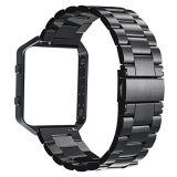 La calidad de la muñeca de metal negro tres eslabones de la banda de 23mm con marco negro para Fitbit Blaze
