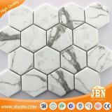 2018 heiße weiße Farbe USA-Glasmosaik-Hexagon-Fliese für Wand-Dekoration (V678006)