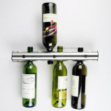 Cremalheira contemporânea do armazenamento do vinho do indicador do frasco do metal da barra horizontal do vintage