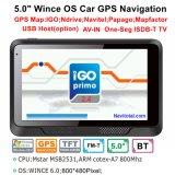 """Bon marché 5.0 """" système de navigation du véhicule GPS avec 128MB le RAM, 8GB bavure, FM-Émetteur, carte neuve d'Igo"""