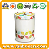 砂糖のカールのための円形の缶の金属の記憶の錫ボックス