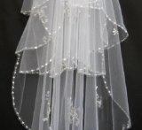 Bianco/velare nuziali morbidi bordanti Ivory di cerimonia nuziale di Tulle del bordo dei Sequins
