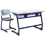 싼 두 배 학교 책상과 의자/금속 프레임에 의하여 붙어 있는 학생 테이블 및 의자