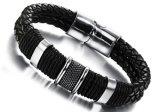 Inarcamento magnetico di cuoio Braided Bracelets&Bangles dell'acciaio inossidabile dei braccialetti del nero caldo di vendita per gli uomini Boyfirend