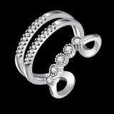 Joyería abierta de la manera del anillo de la dimensión de una variable del diamante cúbico geométrico del Zirconia