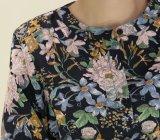 El poliéster estilo largo vestidos damas con patrón de la planta