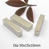 Forte de la forme de bloc aimant en néodyme permanente avec revêtement nickel 50x15x10mm