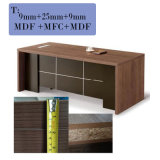 Wooden Table Office Furniture Executive Office Desk with Movable Pedestal Filing Cabinet has Big Credenza, Cupboard with Door
