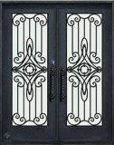 Hand-Made elegante puerta de hierro forjado.