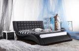Bâti en cuir grand de chambre à coucher moderne avec le bouton