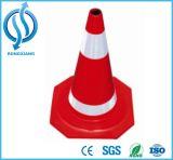 cone de borracha recicl 700mm do tráfego com colar reflexivo