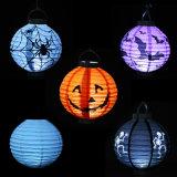 Linterna de la calabaza, linternas de papel Glittering con la luz del LED para la decoración de Víspera de Todos los Santos, linterna de DIY