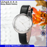 Orologio casuale delle signore del quarzo della cinghia di cuoio di modo (Wy-060D)