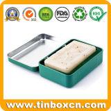 De rechthoekige Doos van het Tin van het Metaal van de Zeep van de Scharnier voor Kosmetische Verpakking