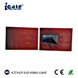 La pantalla del LCD de 4.3 pulgadas modifica el folleto video hermoso de la boda para requisitos particulares