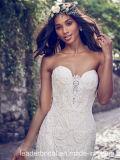 Trägerlose Brautkleid-Spitze Appliqued Strand-Land-Hochzeits-Kleid R562