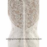 Stutzen-Hochzeits-Kleid-Brautjunfer-Kleid der Spitze-elegantes Sleeveless V