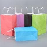 Venta al por mayor de encargo de la bolsa de papel de las compras baratas coloridas de la alta calidad