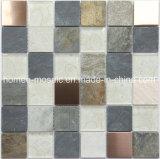 Bonito diseño Backsplash mezcla de acero inoxidable mosaico de piedra de cristal