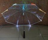 Guarda-chuva reto do diodo emissor de luz do miúdo transparente relativo à promoção seguro o mais barato chinês