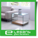 Tabella concentrare di vetro curva con la base di legno dell'impiallacciatura della noce
