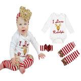 Équipements infantiles de costume de salopette de Noël de la fille 2PCS de bébé garçon de Noël