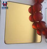 De gouden Spiegel die van de Kleur 8K het Blad van de Decoratie van het Roestvrij staal zandstralen