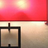 La moderna plaza interior de tela roja y aplique de pared de tubo de metal