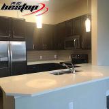 Da pedra branca pura de quartzo do projeto dos apartamentos dos EUA bancada Precut da cozinha
