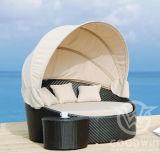 Wove плетеной мебелью циркуляр лежа кровать с палатки