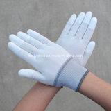 Перст PU вкладыша полиэфира 13 датчиков окунул перчатки безопасности белые работая