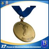 Медаль металла спорта изготовленный на заказ марафона идущее с голубой тесемкой