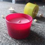 De roze Gele Kleine Europa Kaars van de Kruik van het Glas met Gepersonaliseerde Sticker