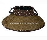 Chapéu Foldable da viseira de Sun da palha da borda larga