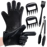 4 Pieces Barbecue Set Silicone BBQ Gloves Meat Claw Shredders with Food Clip and Silicone Baster Brush