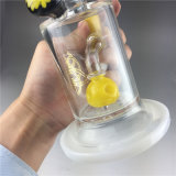 Труба черного перколятора ливня пробки стеклянная куря с желтым цветом в