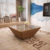 De moderne Stevige Koffietafel van het Spectrum van het Bamboe met de Bovenkant van het Glas